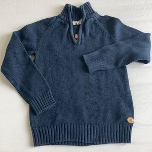 H&M knit navy stand up zip collar boys sweater 6-8